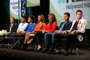 "(L-R) REELZ SVP of Development & Current Programming, Rob Swartz, TV personalities Jaafar Jackson, Donte Jackson, Genevieve Jackson, Alejandra Jackson, Jermajesty Jackson and Randy Jackson Jr. speak onstage at the ""Living With The Jacksons"" panel during the Reelz Channel portion of the 2014 Summer Television Critics Association at The Beverly Hilton Hotel on July 12, 2014 in Beverly Hills, California."