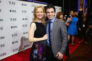 """Actors Anika Larsen (L) and Jarrod Spector of """"Beautiful: The Carole King Musical"""" attend the 2014 Tony Awards Meet The Nominees Press Reception at the Paramount Hotel on April 30, 2014 in New York City."""