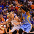 Penny Taylor Photos - Forward Penny Taylor #13 of the Phoenix Mercury handles the ball against forward Tamera Young #1 of the Chicago Sky in the first half during game one of the WNBA Finals at US Airways Center on September 7, 2014 in Phoenix, Arizona.  NOTE TO USER: User expressly acknowledges and agrees that, by downloading and or using this photograph, User is consenting to the terms and conditions of the Getty Images License Agreement. - 2014 WNBA Finals - Game One