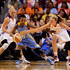 Penny Taylor Photos - Guard Jamierra Faulkner #21 of the Chicago Sky  handles the ball against guard Erin Phillips #31 and forward Penny Taylor #13 of the Phoenix Mercury in the first half during game one of the WNBA Finals at US Airways Center on September 7, 2014 in Phoenix, Arizona. NOTE TO USER: User expressly acknowledges and agrees that, by downloading and or using this photograph, User is consenting to the terms and conditions of the Getty Images License Agreement. - 2014 WNBA Finals - Game One