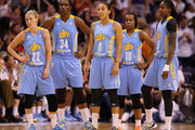 (L-R) Courtney Vandersloot #22, Sylvia Fowles #34, Courtney Clements #0, Epiphanny Prince #10 and Jessica Breland #51 of the Chicago Sky react during the second half of game two of the WNBA Finals against the Phoenix Mercury at US Airways Center on September 9, 2014 in Phoenix, Arizona.  NOTE TO USER: User expressly acknowledges and agrees that, by downloading and or using this photograph, User is consenting to the terms and conditions of the Getty Images License Agreement.