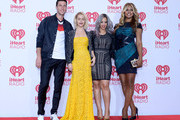 (L-R) Actors Pablo Schreiber, Taryn Manning, Dascha Polanco and Laverne Cox pose in the press room during the 2014 iHeartRadio Music Festival at MGM Grand Garden Arena on September 20, 2014 in Las Vegas, Nevada.