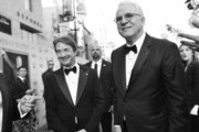 Image has been shot in black and white.) Actor/comedian Martin Short (L) and honoree Steve Martin attend the 2015 AFI Life Achievement Award Gala Tribute Honoring Steve Martin at the Dolby Theatre on June 4, 2015 in Hollywood, California. 25292_006