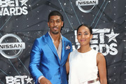 Author/musician Fonzworth Bentley (L) and actress Faune A. Chambers attend the 2015 BET Awards at the Microsoft Theater on June 28, 2015 in Los Angeles, California.