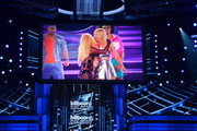 Recording artists Britney Spears (L) and Iggy Azalea perform on the stage screen during the 2015 Billboard Music Awards at MGM Grand Garden Arena on May 17, 2015 in Las Vegas, Nevada.