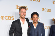 Actors Jake McDorman (L) and Hill Harper attend the 2015 CBS Upfront at The Tent at Lincoln Center on May 13, 2015 in New York City.