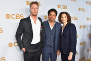 (L-R) Actors Jake McDorman, Hill Harper, and Mary Elizabeth Mastrantonio attend the 2015 CBS Upfront at The Tent at Lincoln Center on May 13, 2015 in New York City.