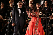 Singers Andrea Bocelli and Carly Paoli perform at the Celebrity Fight Night gala at Palazzo Vecchio during 2015 Celebrity Fight Night Italy on September 13, 2015 in Florence, Italy.