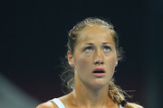 Bojana Jovanovski of Serbia looks on in her match against Caroline Wozniacki of Denmark during day two of the 2015 China Open at the China National Tennis Centre on October 4, 2015 in Beijing, China.