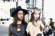 Musicians Sean Lennon (L) and Charlotte Kemp Muhl of The Ghost of a Saber Tooth Tiger pose onstage during day 1 of the 2015 Coachella Valley Music & Arts Festival (Weekend 1) at the Empire Polo Club on April 10, 2015 in Indio, California.
