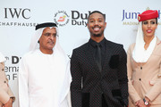 """DIFF Chairman Abdulhamid Juma and actor Michael B Jordan attend the Opening Night Gala of """"Room"""" during day one of the 12th annual Dubai International Film Festival held at the Madinat Jumeriah Complex on December 9, 2015 in Dubai, United Arab Emirates."""