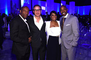 Director John Singleton, chief revenue officer Paul Buccieri and producer Will Packer attend the 2015 A+E Networks Upfront on April 30, 2015 in New York City.