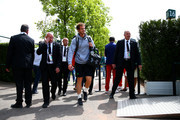 Andy Murray of Great Britain arrives for a practice session on day six of the 2015 French Open at Roland Garros on May 29, 2015 in Paris, France.