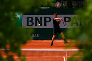 Andy Murray of Great Britain plays a forehand during a practice session on day six of the 2015 French Open at Roland Garros on May 29, 2015 in Paris, France.