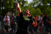 Andy Murray of Great Britain in action during a practice session on day six of the 2015 French Open at Roland Garros on May 29, 2015 in Paris, France.