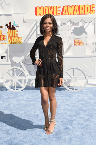 TV personality Zuri Hall attends The 2015 MTV Movie Awards at Nokia Theatre L.A. Live on April 12, 2015 in Los Angeles, California.