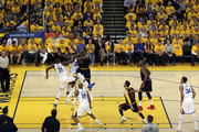 Tristan Thompson #13 of the Cleveland Cavaliers goes up against Festus Ezeli #31 and Draymond Green #23 of the Golden State Warriors during Game One of the 2015 NBA Finals at ORACLE Arena on June 4, 2015 in Oakland, California. NOTE TO USER: User expressly acknowledges and agrees that, by downloading and or using this photograph, user is consenting to the terms and conditions of Getty Images License Agreement.