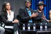 (L-R) Cymphonique Miller, Master P and Romeo Miller speak onstage during the 'Master P's Family Empire' panel discussion at the Reelz portion of the 2015 Summer TCA Tour at The Beverly Hilton Hotel on August 7, 2015 in Beverly Hills, California.