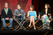 (L-R) Actors Beau Bridges, Josh Charles, creator/executive producer Michelle Ashford and executive producer Sarah Timberman speak onstage during the 'Masters of Sex' panel discussion at the Showtime portion of the 2015 Summer TCA Tour at The Beverly Hilton Hotel on August 11, 2015 in Beverly Hills, California.