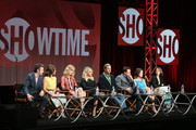 (L-R) Actors Michael Sheen, Lizzy Caplan, Caitlin FitzGerald, Annaleigh Ashford, Beau Bridges, Josh Charles, creator/executive producer Michelle Ashford and executive producer Sarah Timberman speak onstage during the 'Masters of Sex' panel discussion at the Showtime portion of the 2015 Summer TCA Tour at The Beverly Hilton Hotel on August 11, 2015 in Beverly Hills, California.