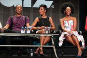 (L-R) Actors Jessie T. Usher, Tichina Arnold and Teyonah Parris speak onstage during the 'Survivor's Remorse' panel discussion at the STARZ portion of the 2015 Summer TCA Tour at The Beverly Hilton Hotel on July 31, 2015 in Beverly Hills, California.