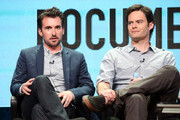 (L-R) Executive producer/actors Rhys Thomas and Bill Hader speak onstage during the 'Documentary Now!' panel discussion at the AMC/IFC Networks portion of the 2015 Summer TCA Tour at The Beverly Hilton Hotel on July 31, 2015 in Beverly Hills, California.