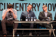 (L-R) Executive producer/actors Bill Hader, Seth Meyers and Fred Armisen speak onstage during the 'Documentary Now!' panel discussion at the AMC/IFC Networks portion of the 2015 Summer TCA Tour at The Beverly Hilton Hotel on July 31, 2015 in Beverly Hills, California.