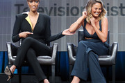 Models Tyra Banks (L) and Chrissy Teigen speak during the 2015 Summer TCA Press Tour at The Beverly Hilton Hotel on August 4, 2015 in Beverly Hills, California.