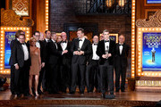 """Playwright Simon Stephens, director Michael Morris and cast and creative accept the award for Best Play for """"The Curious Incident of the Dog in the Night-Time"""" onstage at the 2015 Tony Awards at Radio City Music Hall on June 7, 2015 in New York City."""