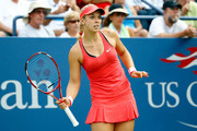 Sabine Lisicki of Germany reacts during her Women's Singles Second Round match against Camila Giorgi of Italy on Day Four of the 2015 US Open at the USTA Billie Jean King National Tennis Center on September 3, 2015 in the Flushing neighborhood of the Queens borough of New York City.