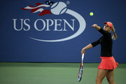 Sabine Lisicki of Germany serves to Barbora Strycova of Czech Republic during their Women's Singles Third Round match on Day Six of the 2015 US Open at the USTA Billie Jean King National Tennis Center on September 5, 2015 in the Flushing neighborhood of the Queens borough of New York City.