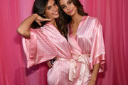 Sara Sampaio (L) and Taylor Hill are seen backstage before the 2015 Victoria's Secret Fashion Show at Lexington Avenue Armory on November 10, 2015 in New York City.