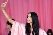 Adriana Lima posing for a selfie backstage - Backstage At the Victoria's Secret Fashion Show