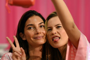 Veteran-Angels Behati + Lily pose for selfies before show time - Backstage At the Victoria's Secret Fashion Show