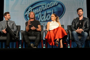 (L-R) Host Ryan Seacrest, musician/judge Keith Urban, singer/actress/judge Jennifer Lopez and musician/actor/judge Harry Connick, Jr. speak onstage during the 'American Idol' panel discussion at the FOX portion of the 2015 Winter TCA Tour at the Langham Hotel on January 17, 2015 in Pasadena, California.