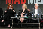 Actors Christina Hendricks, January Jones and John Slattery speak onstage during the 'Mad Men' panel at the AMC portion of the 2015 Winter Television Critics Association press tour at the Langham Hotel on January 10, 2015 in Pasadena, California.