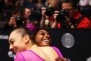 Margaret Nichols of the U.S. hugs team mate Simone Biles during day ten of The World Artistic Gymnastics Championships at The SSE Hydro on November 01, 2015 in Glasgow, Scotland.