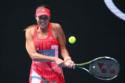 Ana Ivanovic of Serbia plays a backhand in her first round match against Tammi Patterson of Australia during day two of the 2016 Australian Open at Melbourne Park on January 19, 2016 in Melbourne, Australia.