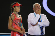 Ana Ivanovic of Serbia and Craig Willis look on during a break in play in her second round match against Anastasija Sevastova of Latvia during day four of the 2016 Australian Open at Melbourne Park on January 21, 2016 in Melbourne, Australia.