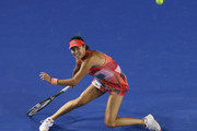 Ana Ivanovic of Serbia plays a forehand in her second round match against Anastasija Sevastova of Latvia during day four of the 2016 Australian Open at Melbourne Park on January 21, 2016 in Melbourne, Australia.