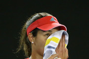 Ana Ivanovic of Serbia wipes her face in her third round match against Madison Keys of the United States during day six of the 2016 Australian Open at Melbourne Park on January 23, 2016 in Melbourne, Australia.