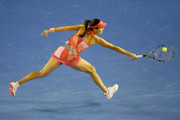 Ana Ivanovic of Serbia plays a backhand during her third round match against Madison Keys of America during day six of the 2016 Australian Open at Melbourne Park on January 23, 2016 in Melbourne, Australia.