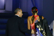 Ana Ivanovic of Serbia is consoled by Tournament referee Wayne McEwen as she leaves the court after losing in her third round match against Madison Keys of the United States during day six of the 2016 Australian Open at Melbourne Park on January 23, 2016 in Melbourne, Australia.
