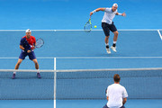 Sam Groth of Australia and Lleyton Hewitt of Australia during their second round doubles match against Henri Kontinen of Finland and John Peers of Australia during day six of the 2016 Australian Open at Melbourne Park on January 23, 2016 in Melbourne, Australia.