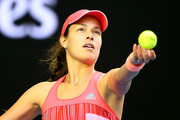 Ana Ivanovic of Serbia serves in her third round match against Madison Keys of the United States during day six of the 2016 Australian Open at Melbourne Park on January 23, 2016 in Melbourne, Australia.