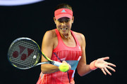 Ana Ivanovic of Serbia plays a forehand in her third round match against Madison Keys of the United States during day six of the 2016 Australian Open at Melbourne Park on January 23, 2016 in Melbourne, Australia.