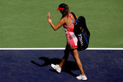 Ana Ivanovic of Serbia leaves the court after losing to Karolina Pliskova of Czech Republic during the BNP Paribas Open at the Indian Wells Tennis Garden on March 14, 2016 in Indian Wells, California.