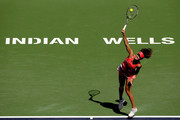 Ana Ivanovic of Serbia serves to Karolina Pliskova of Czech Republic during the BNP Paribas Open at the Indian Wells Tennis Garden on March 14, 2016 in Indian Wells, California.