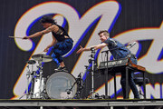 Musicians Kim Schifino (L) and Matt Johnson of Matt and Kim perform onstage during day 3 of the 2016 Coachella Valley Music & Arts Festival Weekend 2 at the Empire Polo Club on April 24, 2016 in Indio, California.