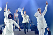 (L-R) Musicians Walshy Fire of Major Lazer, Jillionaire of Major Lazer, MØ, DJ Snake and Diplo of Major Lazer perform onstage during day 3 of the 2016 Coachella Valley Music And Arts Festival Weekend 1 at the Empire Polo Club on April 17, 2016 in Indio, California.
